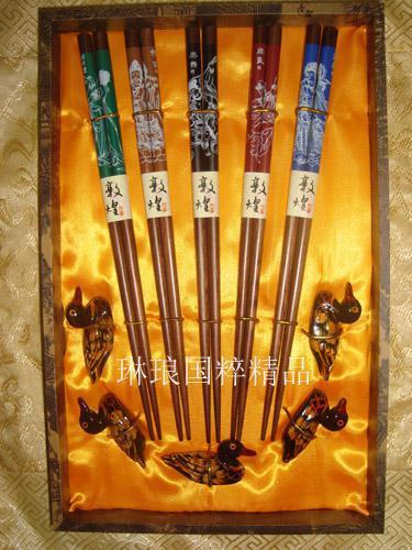 ハードカバー中国風5箸セットギフト木製プリント北京オペラ送料無料