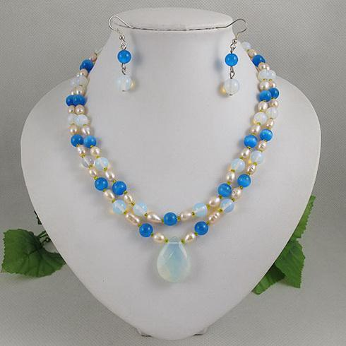 Elegant jewelry 2rows Opal, moonlight stone, pearl necklace earring Christmas gift jewelry set A1981