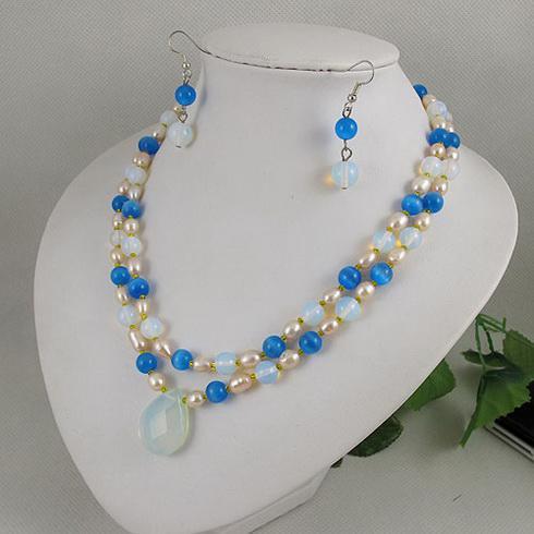 Elegante sieraden 2 lows opaal, maanlicht steen, parel ketting oorbel kerstcadeau sieraden set A1981