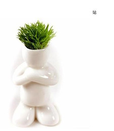 Wholesale Bonsai White - wholesale 10pc lot Creative Gift Plant Hair man Plant Bonsai Grass Doll Office Mini Plant Fantastic