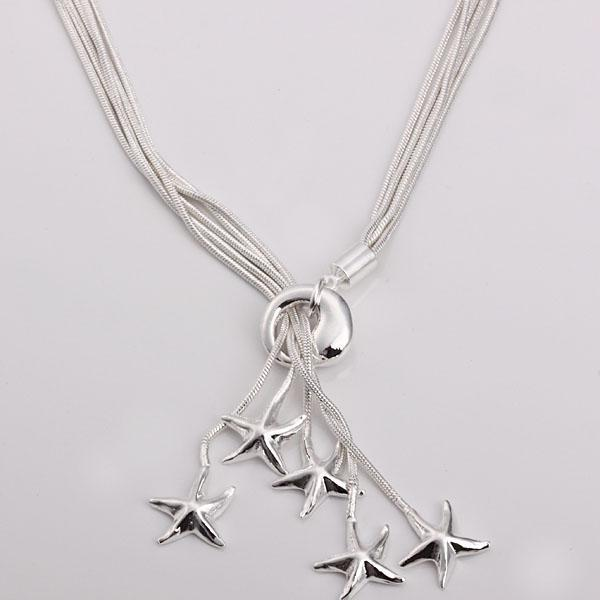 Partihandel - Retail Lägsta pris Julklapp 925 Silver Mode Smycken Gratis frakt Halsband YN091