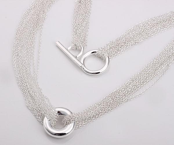 Partihandel - Retail Lägsta pris Julklapp 925 Silver Mode Smycken Gratis frakt Halsband N54