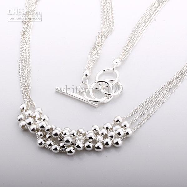 Commercio all'ingrosso - Collana d'argento N56 di trasporto libero dei monili d'argento di modo del regalo di Natale di prezzi più bassi al minuto