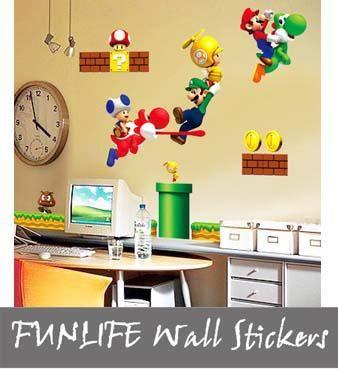funlife Super Mario Bros Boy Room Kids Room Nursery Art Decal Mural ...