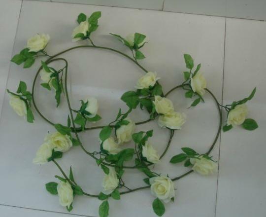 6 unids 2.2 m Seda artificial rosa flor guirnaldas vid falso Camellia ratán para la fiesta de boda decoración del hogar