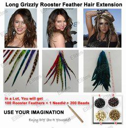LONG 10-13 PULGADAS Grizzly Rooster Pluma Extensiones de cabello Plumas Extensiones + Aguja + Cuentas GRF301 desde fabricantes