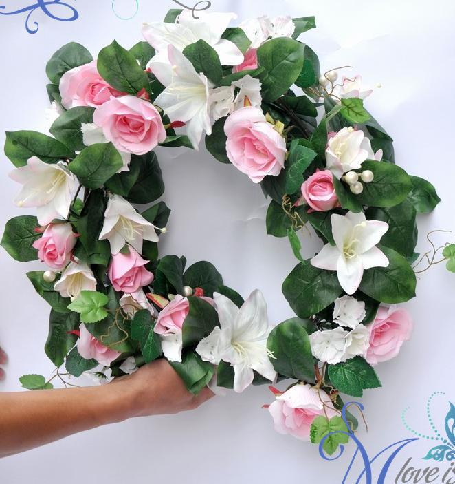 New HOT White silk simulation artificial rose Lily garlands Wedding Christmas party 1.8m flower vine