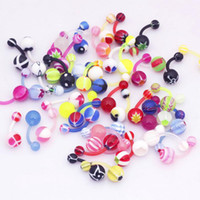 Wholesale Navel Belly Jewelry - Lot 100pcs Different Flexible Navel Belly Rings UV Acrylic Belly bars Fashion Body Jewelry Piercing [BC03*100]
