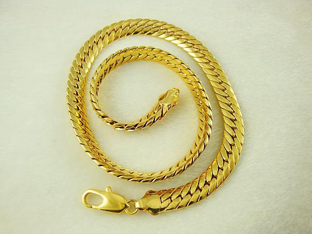 Мода прохладный мужские ювелирные изделия 24K позолоченные звенья цепи 9 мм мужская ожерелье 60 см 5 шт.