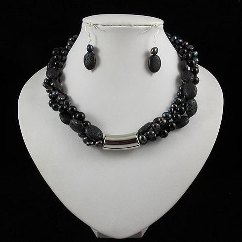 Elegancki zestaw biżuterii 3Rows Black Agate Lava Koraliki Świeżej Wody Pearl Naszyjnik Kolczyk 1 zestaw / A2040