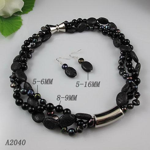 Элегантный комплект ювелирных изделий 3rows черный агат лава бусины пресной воды жемчужное ожерелье серьги 1 компл./лот A2040