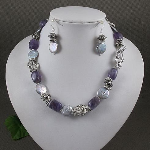 Elegant jewelry set purple amethyst silver gray coin pearl necklace silver earring A2046