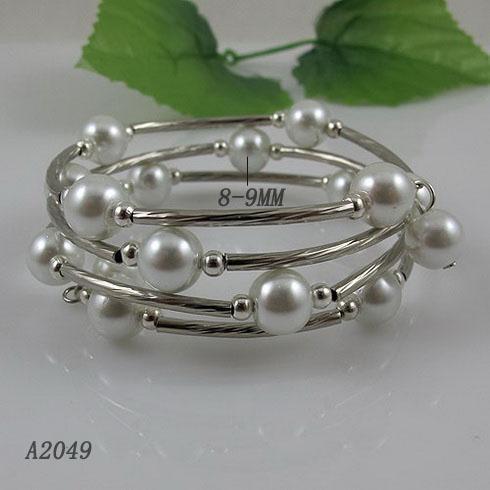 Elegant armband Silver Tube 8mm Vit Moder-of-Pearl Armband 3Ows / Gratis frakt A2049