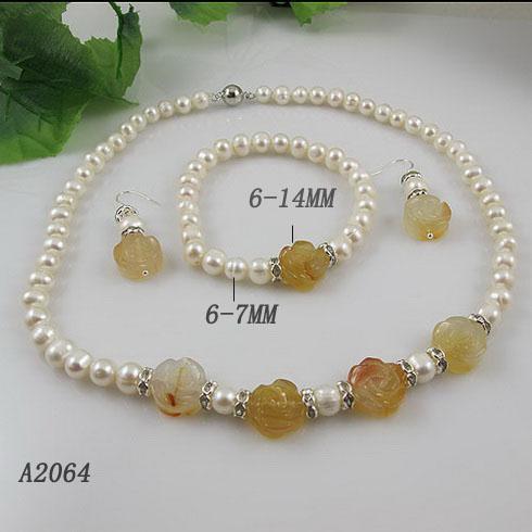 Elegant jewelry set white pearl agate flower shaper necklace bracelet earring A2064