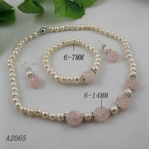 Elegancka biżuteria Zestaw Biała Pearl Rose Kwarcowy Kwiat Naszyjnik Bransoletka Kolczyk Darmowa Wysyłka A2065