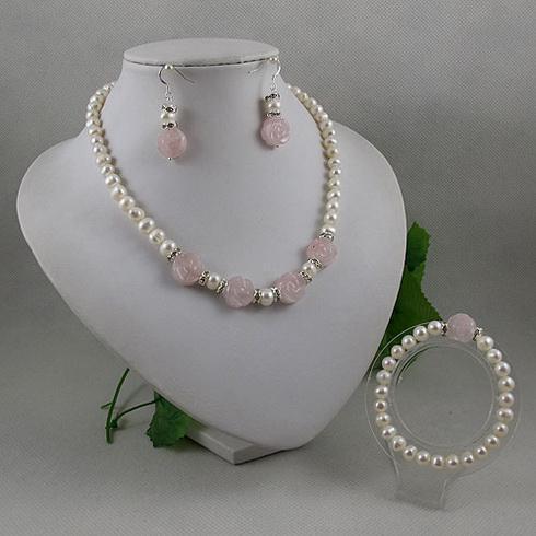 Elegante sieraden set witte parel roos quartz bloem ketting armband oorbel gratis verzending A2065