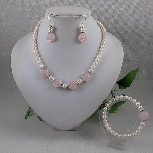 Elegant jewelry set white pearl rose quartz flower necklace bracelet earring A2065