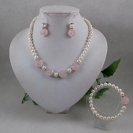 Wholesale Silver Rose Bracelet Earrings Necklace - Elegant jewelry set white pearl rose quartz flower necklace bracelet earring free shipping A2065