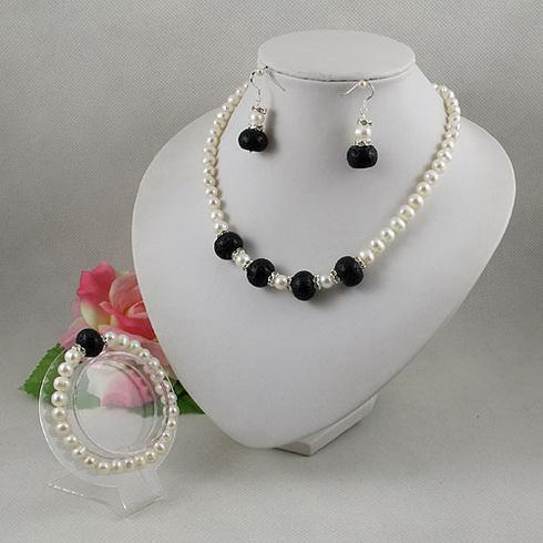Joyería elegante conjunto blanco perla negro lave perlas collar pendiente de la pulsera envío gratis A2066