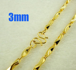 Wholesale wholesale 24k gold china - 24K Gold plated 3mm Links chain Men's necklace 50cm 10pcs Necklace jewelry