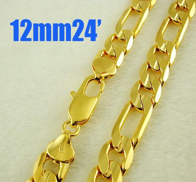 12MM Figaro chain Necklace Men's necklace 24K Gold plated jewelry 24inch/61cm