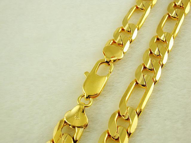 12MM Figaro chaîne Collier Collier homme 24K plaqué or bijoux 24 pouces / 61cm