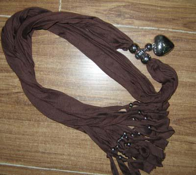 Plain Solid color COTTON & METAL SCARF Neck Scarves NECKLACE PENDANT Love Heart #1450