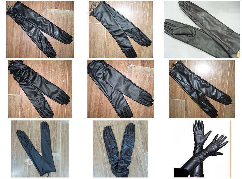 Långa PU Läder Opera Handskar Evening Handskar Bröllop Imiterade Läderhandskar Kvinnor / # 1453