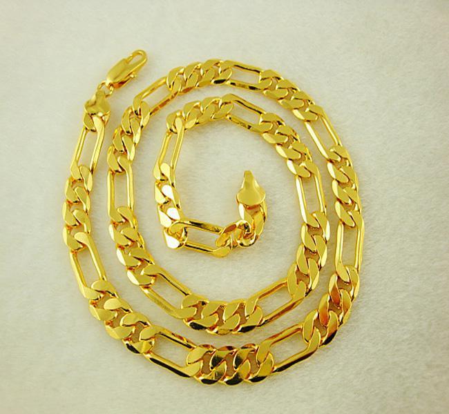 Kingly Schmuck Herren Halskette, 24K vergoldet 8MM Figaro Kette Halskette 18Zoll 15St