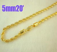 Wholesale Gold Chain 5mm - Fashion jewelry 10pcs 24K Gold plated 5mm Rope chain necklace 20inch,Christmas gift