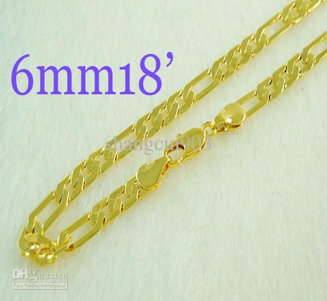 Новый дизайн!мода позолоченные 6 мм мужская Фигаро цепи ожерелье 18 дюймов 20 шт. новый