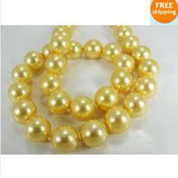 Wholesale 18 quot mm AAA south sea golden pearls Necklace K