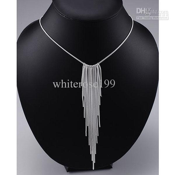 Großverkauf - Kleinster Preis des Verkaufs Weihnachtsgeschenk 925 silberne Art und Weiseschmucksachen geben Verschiffen Halskette yN026 frei