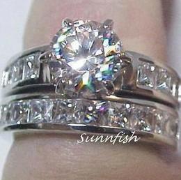 Wholesale Mens 14k White Gold Rings - Elegant women mens lovers wedding ring 14k white gold GP 2.6ct white clear gemstone