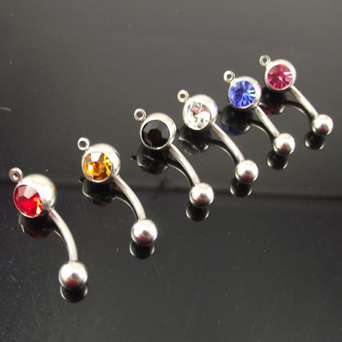 14G belly ring add your own charm mixed color body jewelry navel piercing