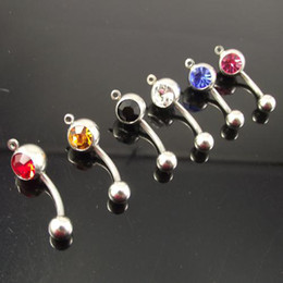 Wholesale Rhinestone Charm Belly Ring - 14G belly ring add your own charm mixed color body jewelry navel piercing 50pcs lot