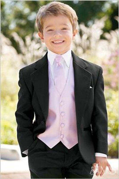 Özel Yapılmış Bir Düğme Boy Smokin Notch Yaka Çocuk Takım Elbise Siyah Kid / Yüzük Düğün / Balo Suits (Ceket + Pantolon + Kravat + Yelek + Gömlek + Jartiyer) F70