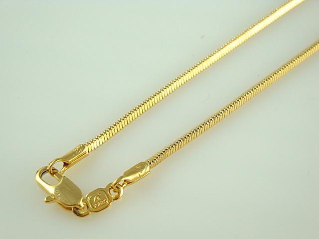 Joyería de los hombres frescos, 24K chapado en oro 1.5mm Collar de cadena de serpiente de 18 pulgadas
