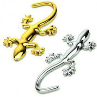 altın film etiketi toptan satış-3D Metal Gecko araba çıkartmaları Araba Oto declas üzerinde Gümüş ve Altın Çıkartmalar serin çıkartmaları