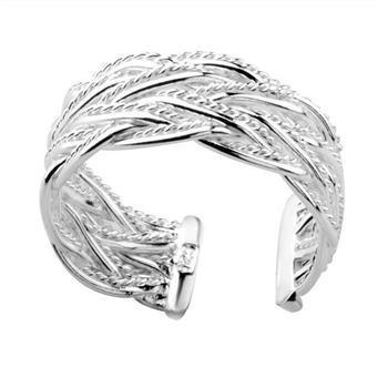 Partihandel - - Retail Lägsta pris Julklapp 925 Silver Small Open Mesh Ring European och American Silver Round Open Ring Smycken R023