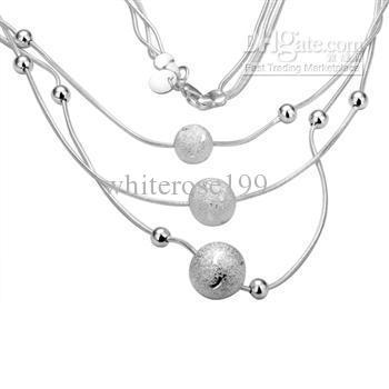 Commercio all'ingrosso - regalo di Natale di prezzi più bassi al dettaglio, spedizione gratuita, nuova collana di moda in argento 925 yN220