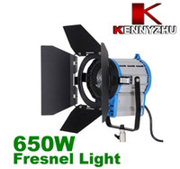 Wholesale fresnel lights - Continous Lighting Video DV Studio Fresnel Tungsten Light 650W + Bulb + Barndoor GY9.5 via Fedex DHL
