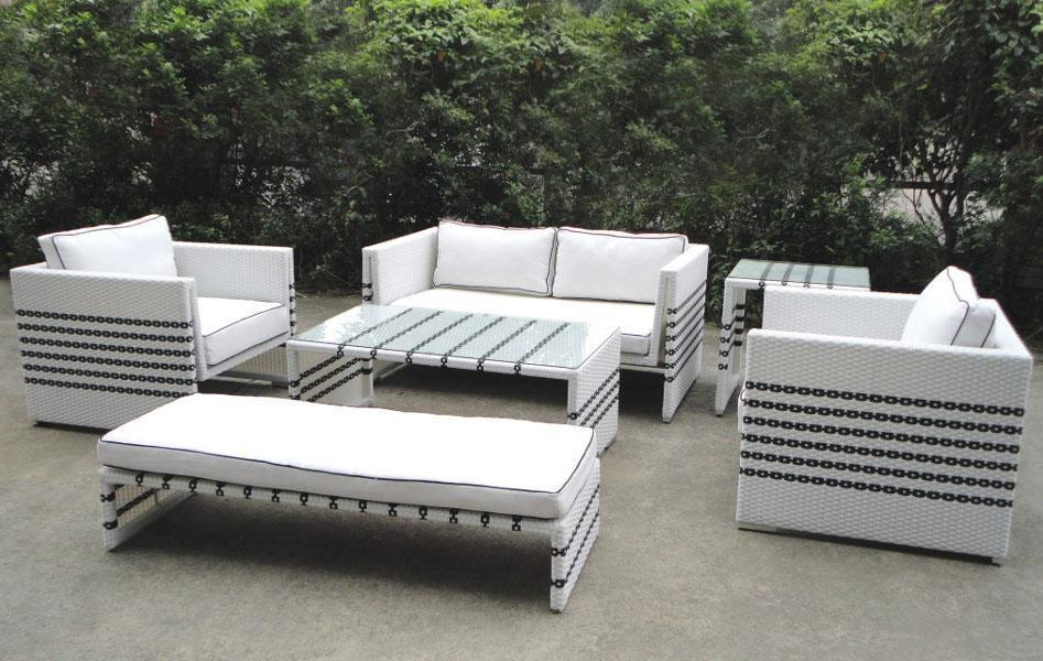 Black Strip White Rattan Sofa Set Gardenu0026outdoor Furniture Part 18