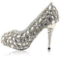 Wholesale Diamond Crystal High Heel Shoes - Hand Design Top White Crystal Diamond Bride Wedding High-Heeled Shoes Wedding Shoes Size Custom Made