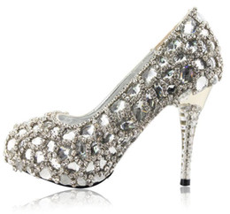 Wholesale Hand Made Shoes - Hand Design Top White Crystal Diamond Bride Wedding High-Heeled Shoes Wedding Shoes Size Custom Made