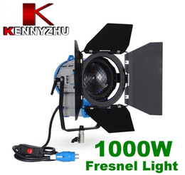 Wholesale Dv Video Light - Continous Lighting Video DV Studio Photo Fresnel Tungsten Light 1000W 1KW+ Bulb GY22 + Barndoor via Free Fedex DHL