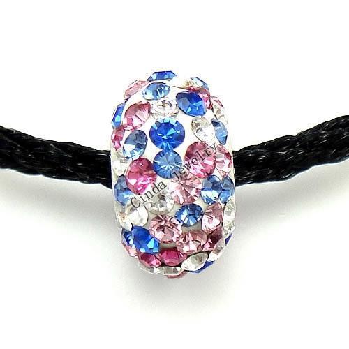 Blanda färg 925 sterling silver rhinestone europeiska pärlor för smycken charm armband halsband 10st / dl01