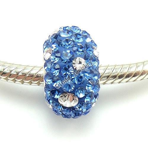 Meng kleur 925 Sterling zilveren strass Europese kralen voor sieraden bedelarmband ketting / DL01