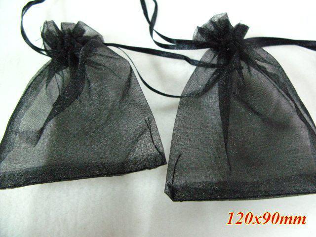 Livraison gratuite / Black Voile Organza Bijoux Sacs 120x90mm / vente CHAUDE / Mode / cadeau