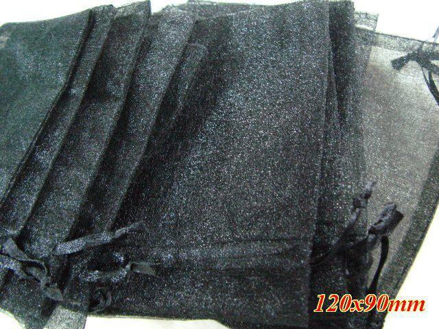 Freies Verschiffen / schwarze Voile-Organza-Schmucksachen sackt 120x90mm / HOT Verkauf / Art und Weise / Geschenk ein
